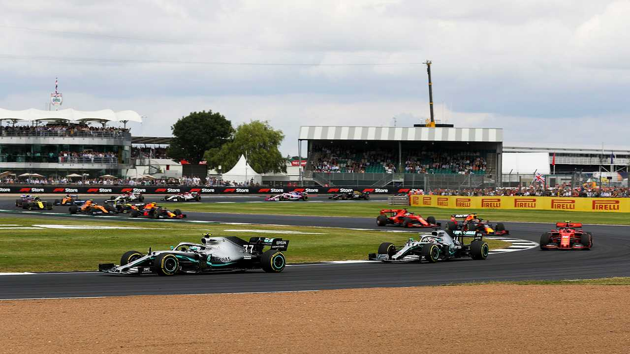 Valtteri Bottas, Mercedes AMG W10 leads Lewis Hamilton, Mercedes AMG F1 W10 and Charles Leclerc, Ferrari SF90 at the start of the race
