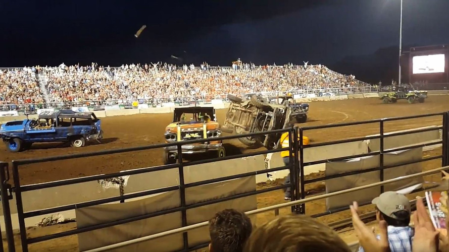 Demolition derby truck driveshaft ejected into crowd, three injured