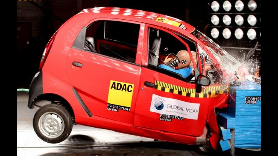 Tata Nano dá vexame; VW Polo e Ford Figo sem airbags zeram no Global NCAP