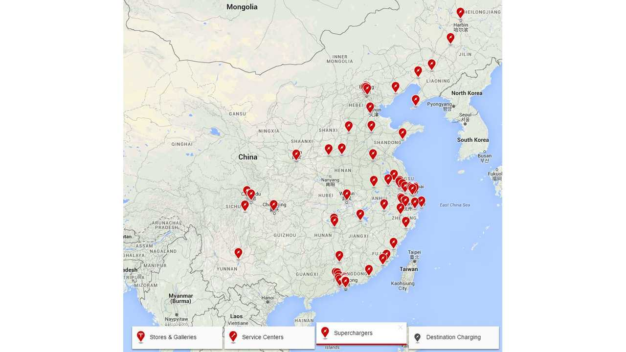 Tesla Superchargers Now Connect Northern And Southern China