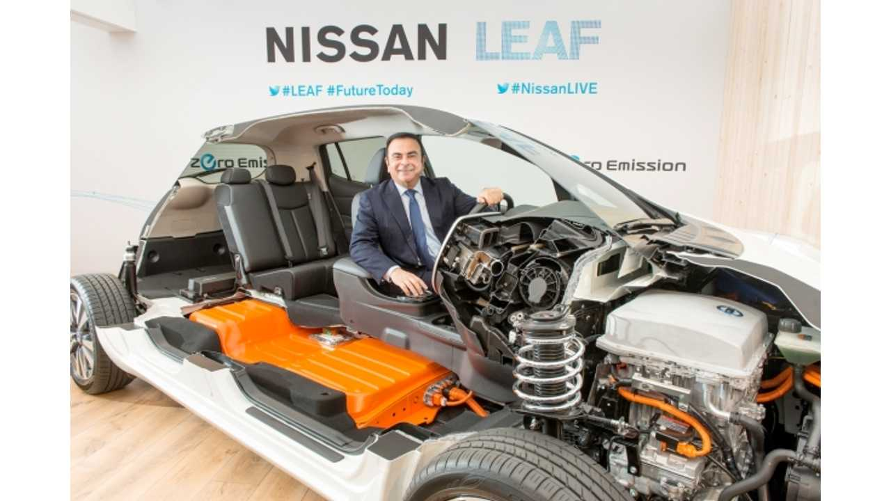 Nissan CEO Ghosn In A Nissan LEAF in Norway - only 19 registered in December