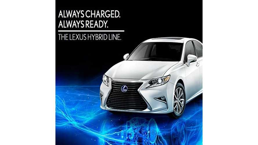 "Lexus Hybrids Take Jab At Electric Cars With New ""Always Charged, Always Ready"" Slogan"