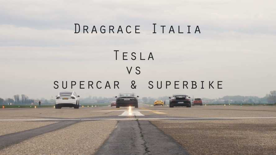 Watch Tesla Model S, X Race Superbike + Cars At An Airstrip