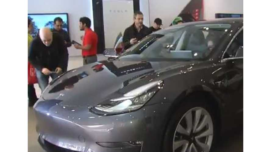 Check Out The World's First Tesla Model 3 Display Model - Video