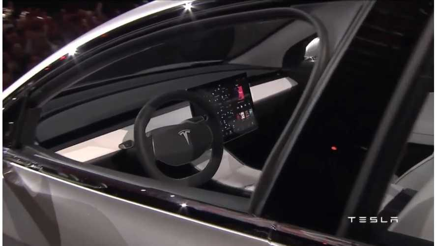 Tesla Model 3 Prototype Lacks An Instrument Panel - Production Version Likely Will Too