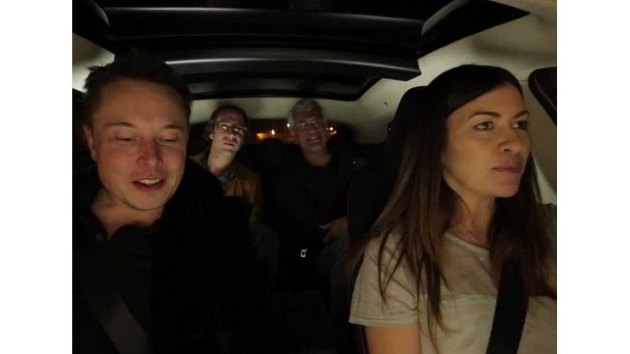 Elon Musk Rides Shotgun With Leilani Munter In A Tesla Model S - Video