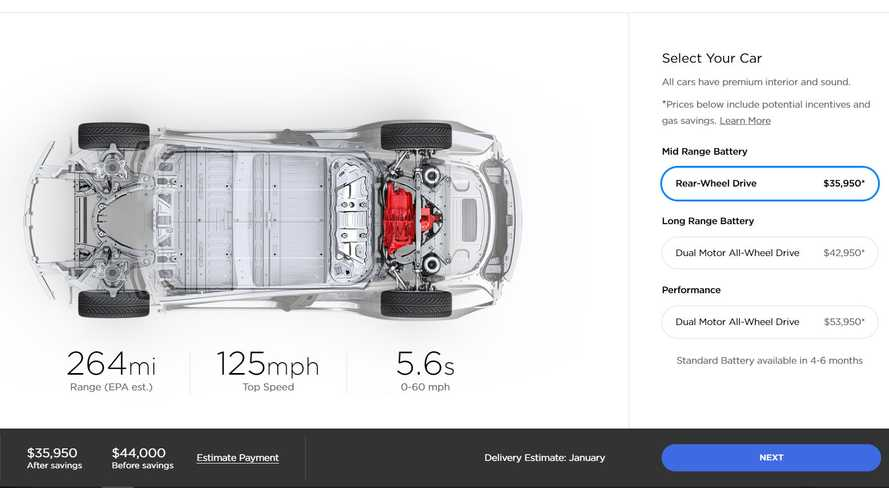Tesla Model 3 Mid Range Now Listed With More Electric Range