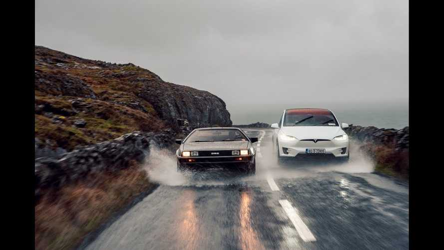 Tesla Model X Meets DeLorean DMC-12, Future Machines Unite: Video