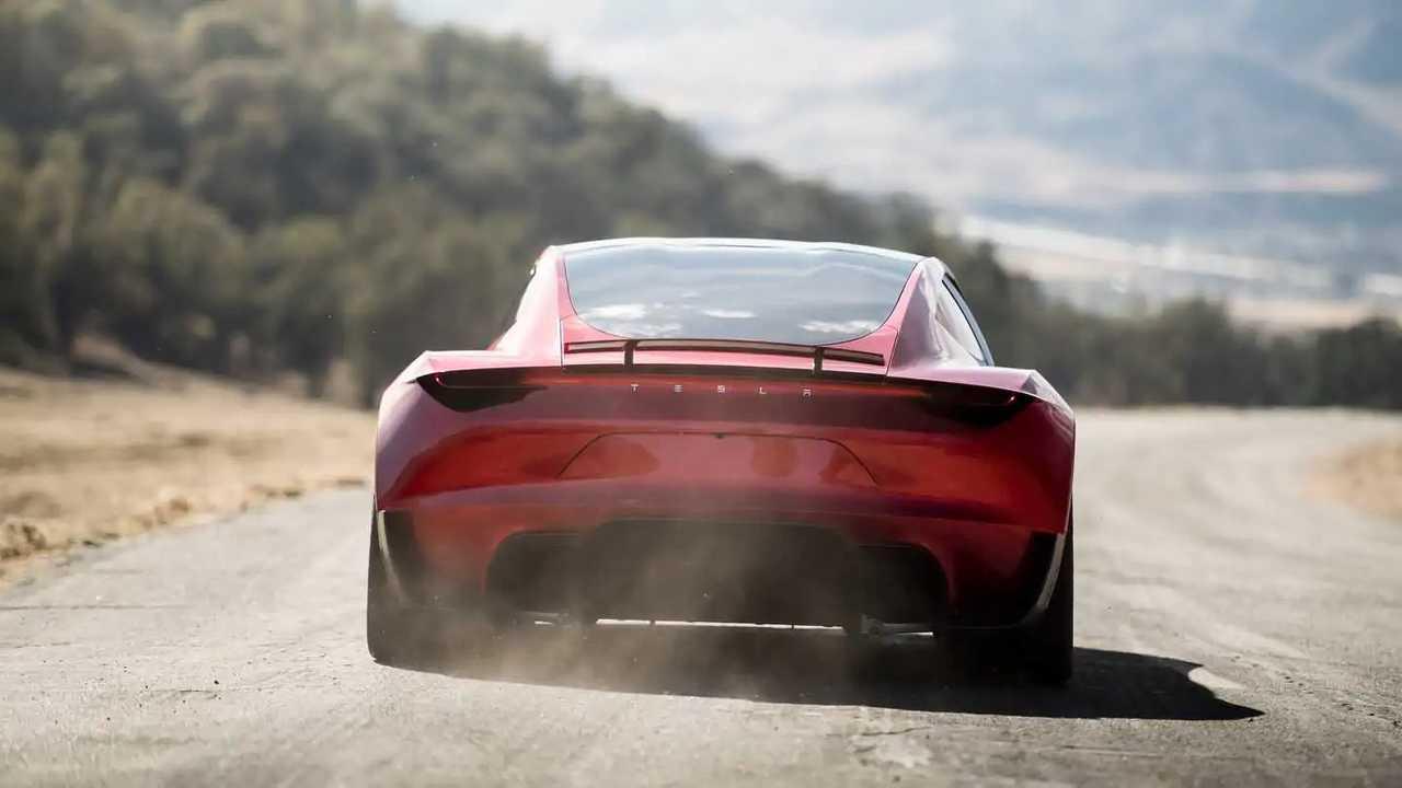 Tesla Roadster driving rear