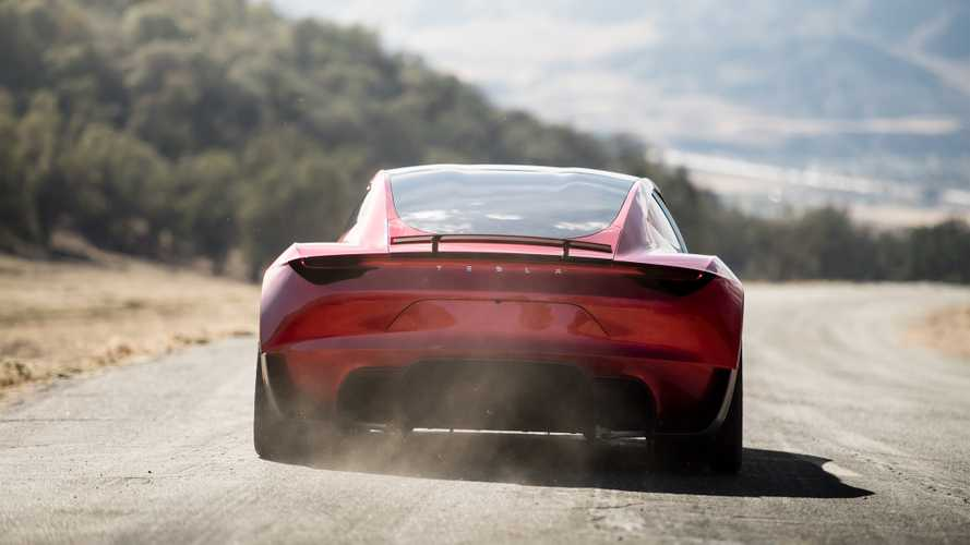 Tesla Roadster driving rear