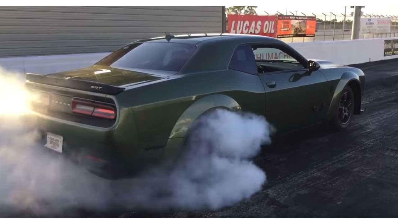 Watch Tesla Model S P100D Race Dodge Demon Crate With Race Gas