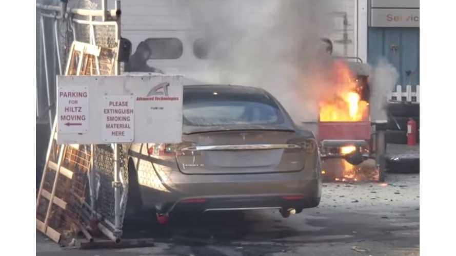 Watch This Tiny Tesla Princess Car Catch Fire On Camera