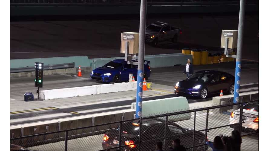 Watch Tesla Model 3 Destroy Subaru WRX STI In Drag Race