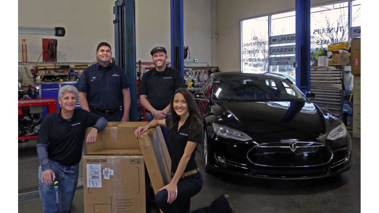 The Bay Area Plugless team swung by Rick's Performance in Pleasanton, CA, on Monday to deliver a brand new Plugless for the Model S autonomous charging system to Rick Soderberg. Rick owns a Model S and is the owner of the high-end auto shop where the unit was installed.