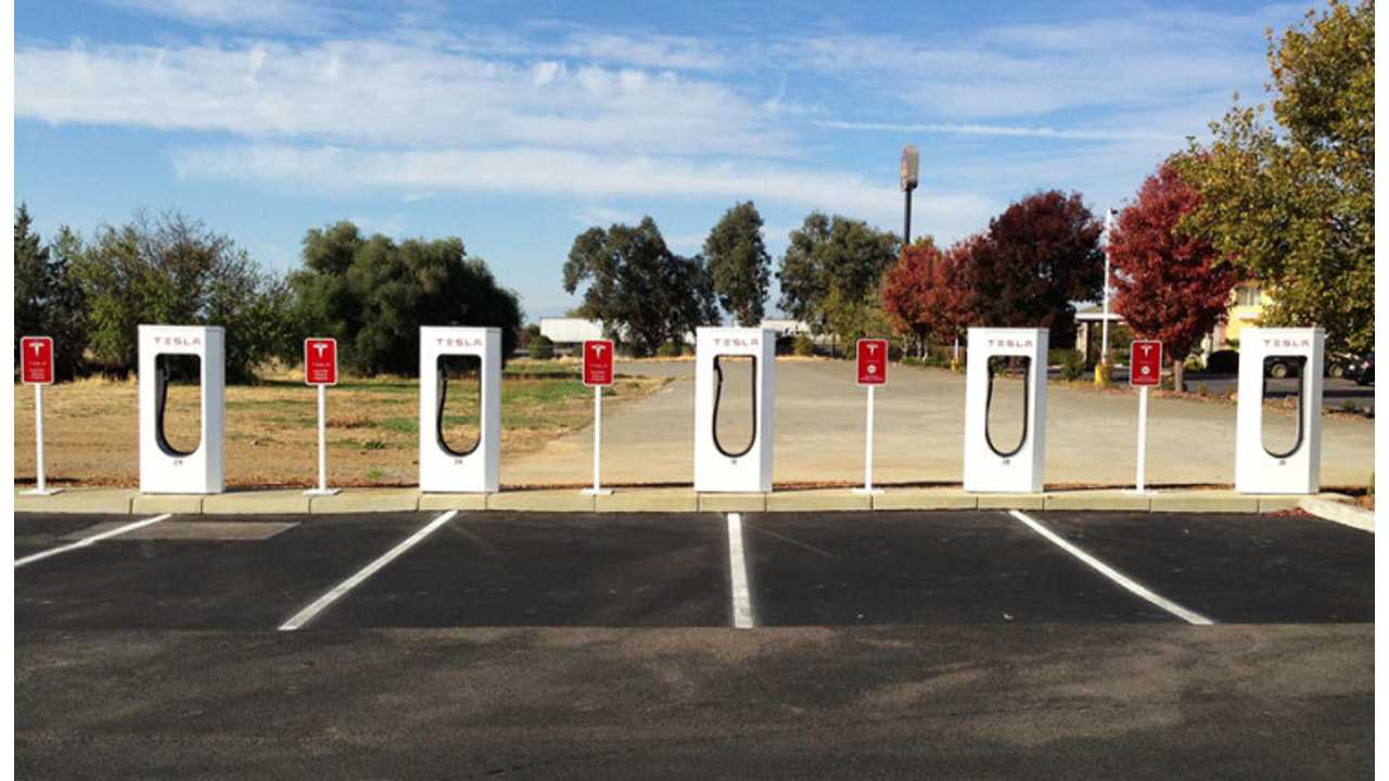 Typical Tesla Supercharging Station