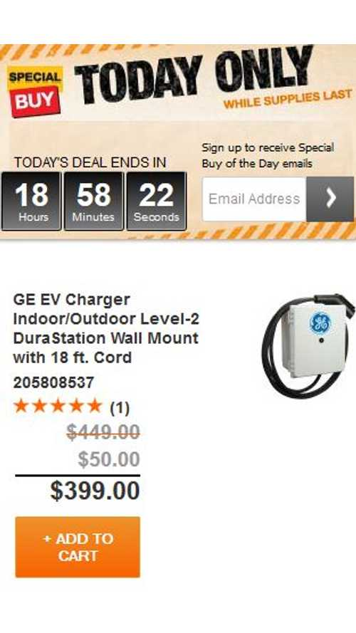"Home Depot ""Special Buy Of The Day"" - GE DuraStation Level 2 EVSE For $399"