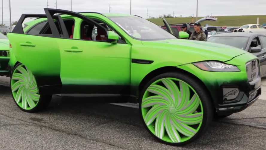 Green Jaguar F-Pace riding on 32-inch wheels looks...