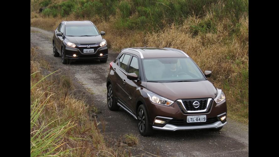 """Teste CARPLACE: Nissan Kicks faz duelo """"olímpico"""" contra o Honda HR-V"""