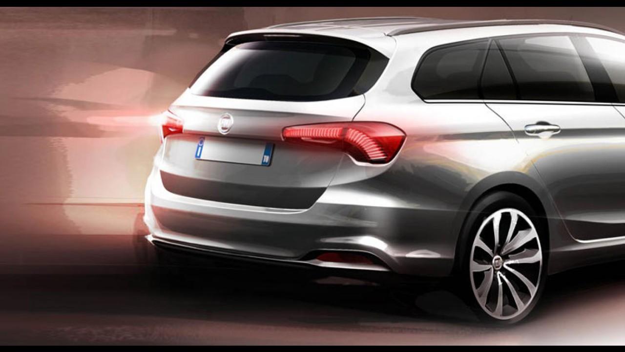 Veja a traseira da perua Fiat Tipo SW, que será apresentada em Genebra