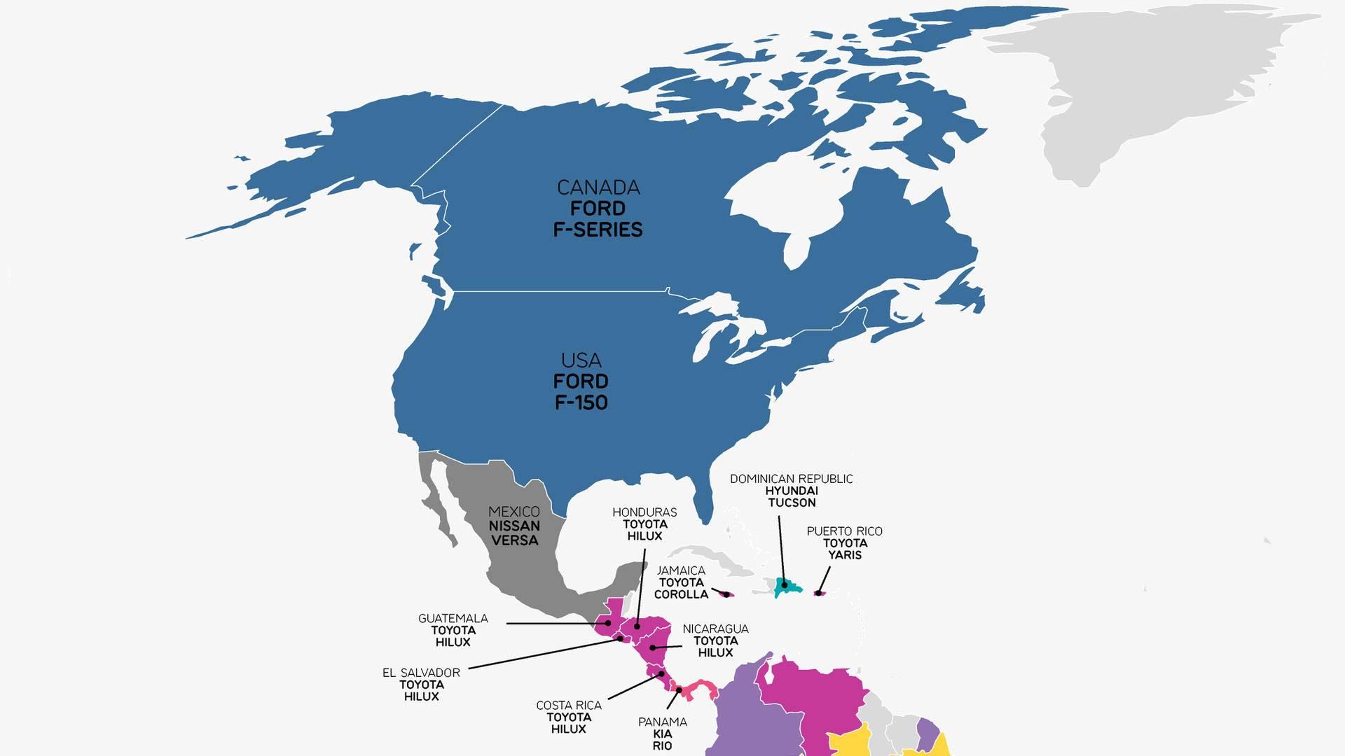 Mapa Mundi Mostra Os Carros Mais Vendidos Em Cada Pas 2016 Toyotas Hilux Usados En Guatemala