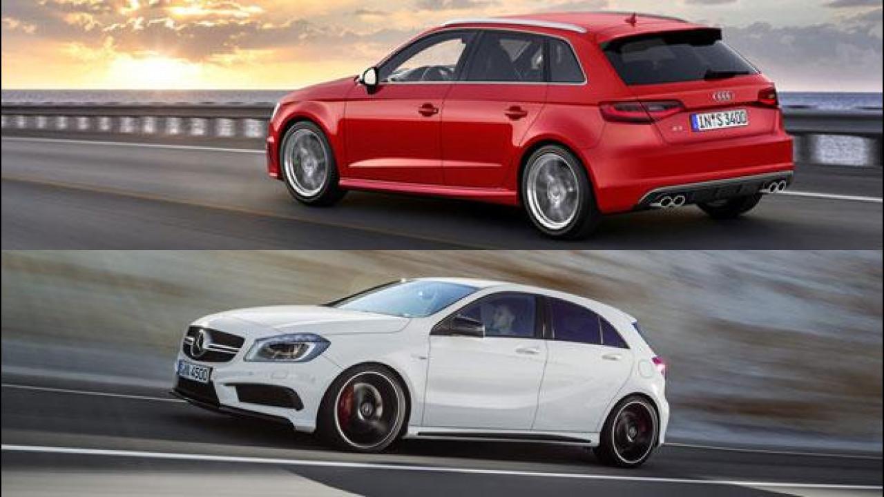[Copertina] - Mercedes A 45 AMG contro Audi S3 Sportback: il sorpasso