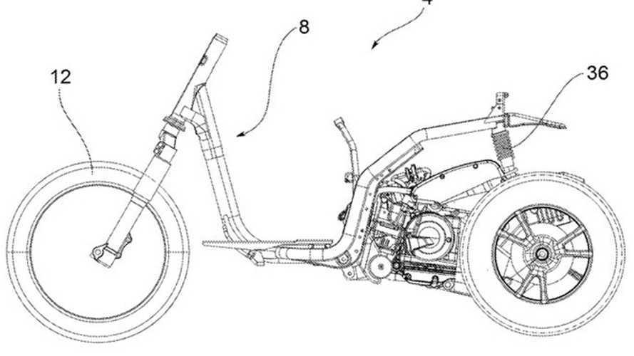 Piaggio al lavoro su un triruota inverso: depositato il brevetto