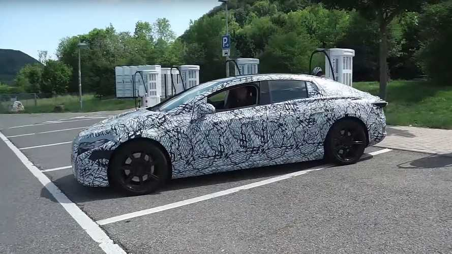Mercedes-Benz EQS Prototype Spotted At A Charging Station: Video