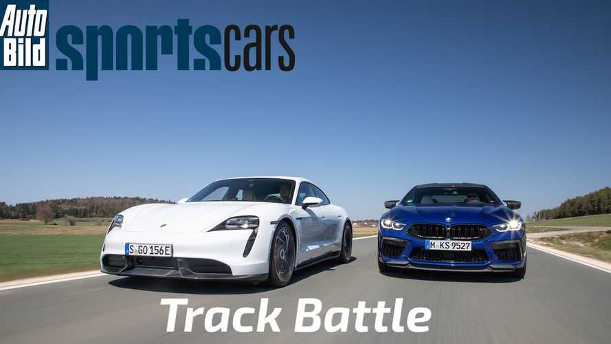 Watch twisty track battle: Porsche Taycan Turbo S vs BMW M8 Gran Coupe