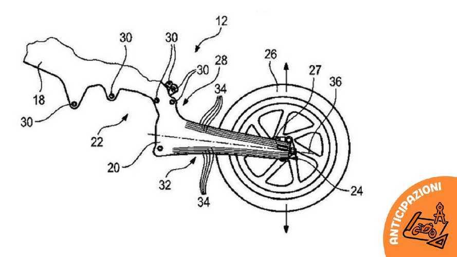 BMW brevetta il telaio in carbonio con forcellone flessibile