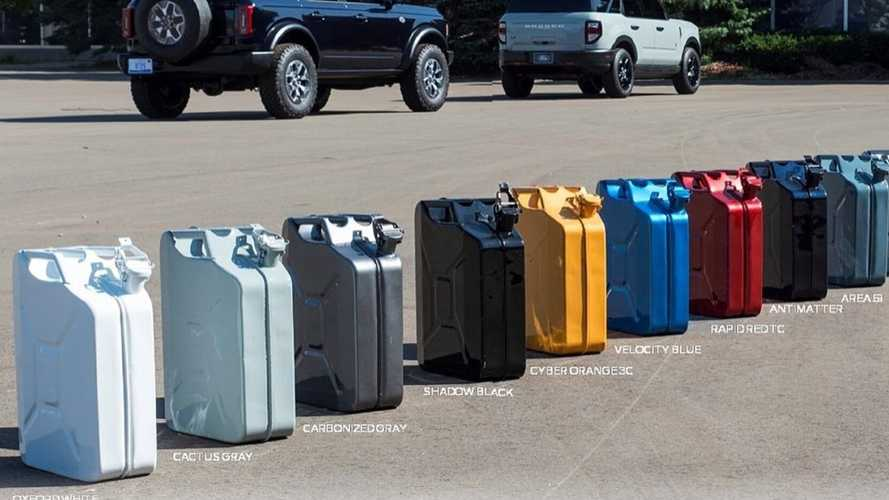 Ford Bronco Paint Colors On Gas Cans