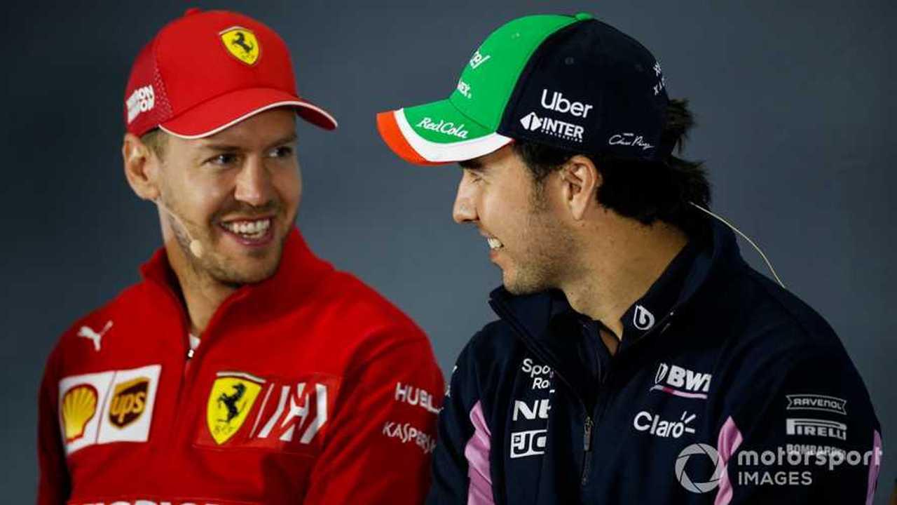 Sergio Perez  and Sebastian Vettel at Mexican GP 2019