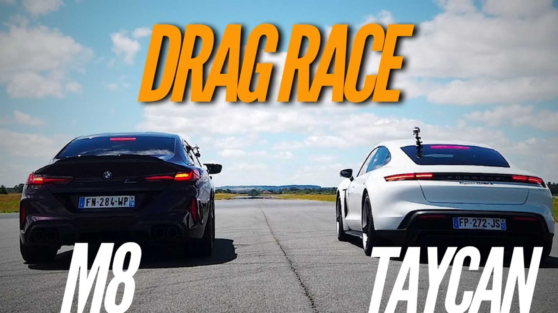 Watch Electric Porsche Taycan Drag Race BMW M8 Gran Coupe Competition - InsideEVs