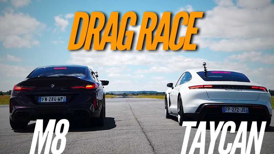 Watch Electric Porsche Taycan Drag Race BMW M8 Gran Coupe Competition