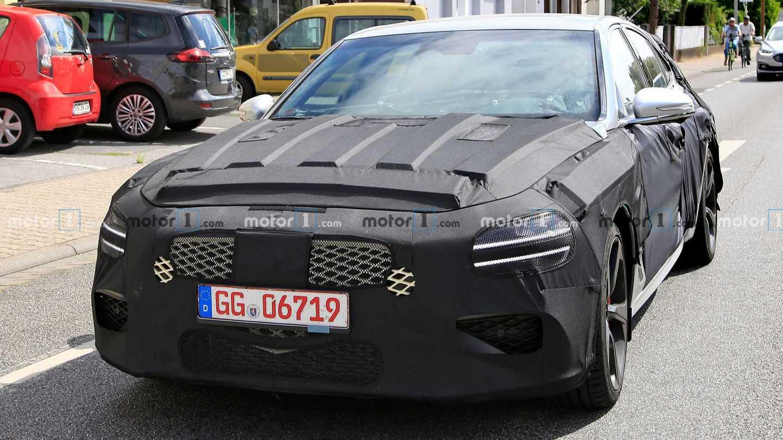 Genesis G70 Shooting Brake Wagon Spied Front Camo