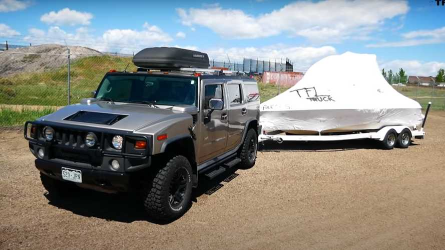 Watch Hummer H2 Do 0-60 MPH Test While Towing Boat
