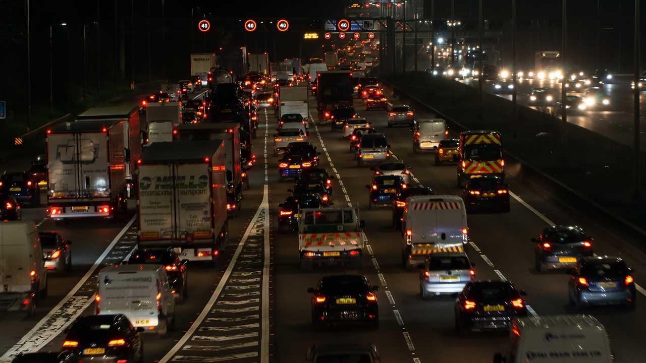 Night traffic on British motorway M1 in Watford UK