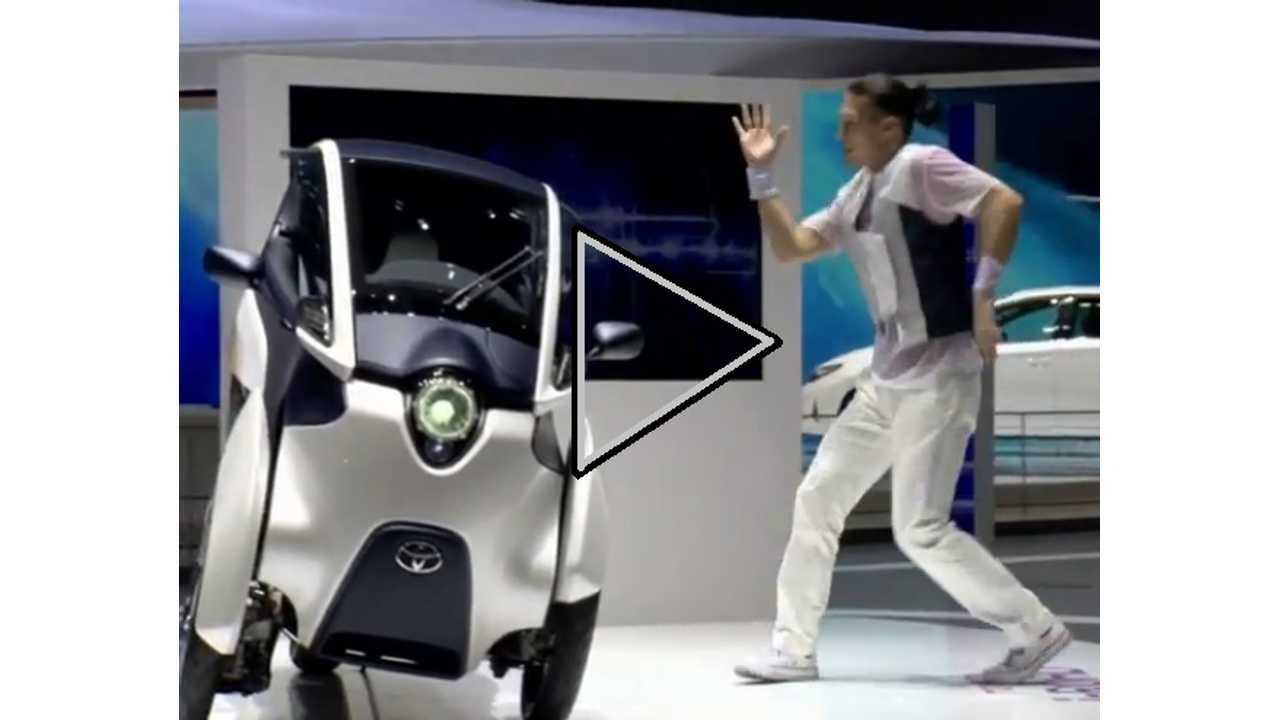 Welcome To Every Auto Show Ever:  Toyota i-Road And Crazy Dancers Take The Stage (video)