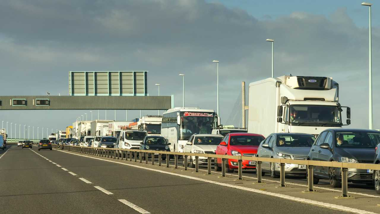 Traffic on the M4 motorway on the Second Severn Crossing