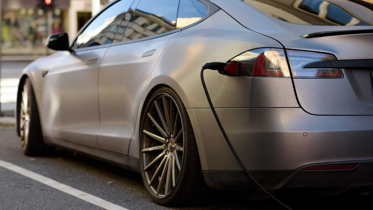 Tesla Model S plugged in and charging