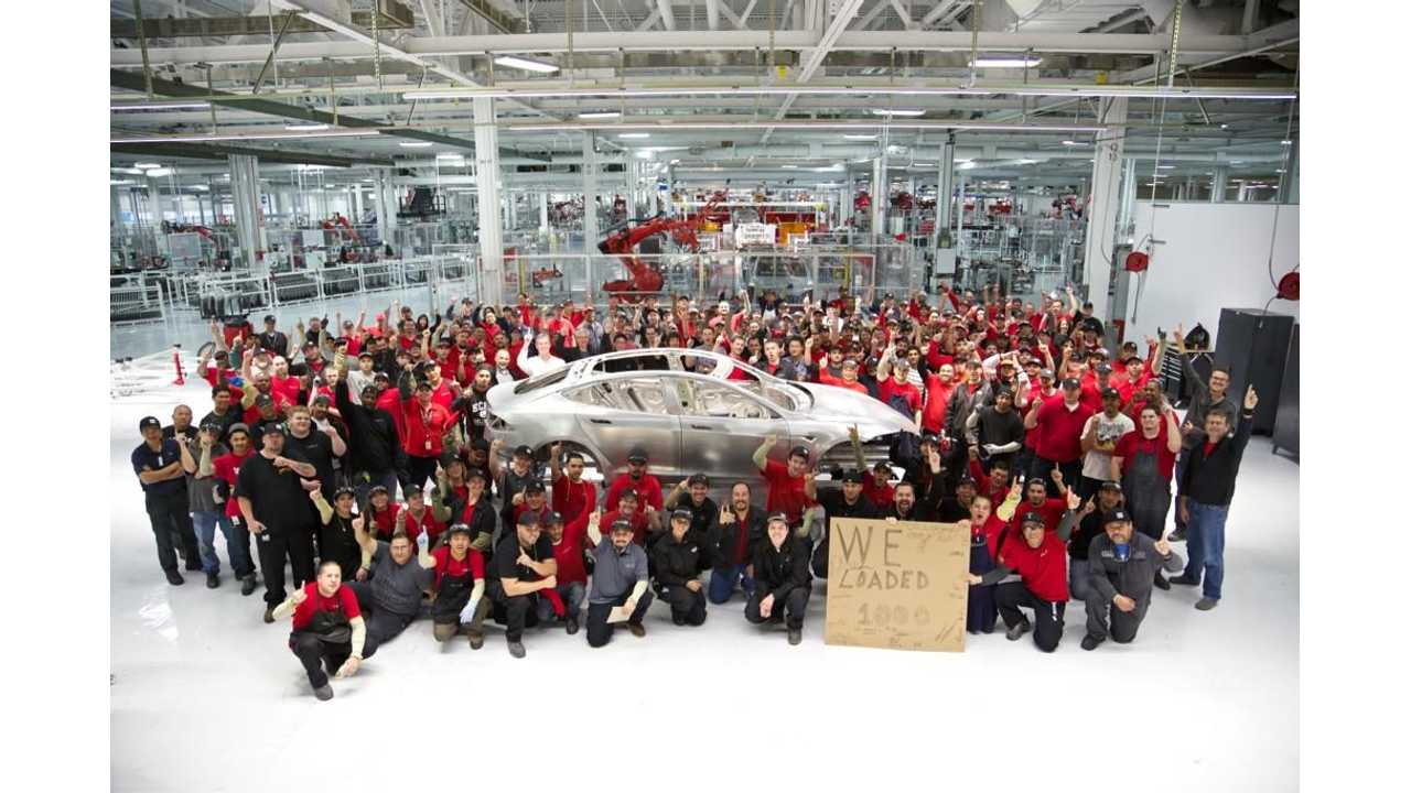Tesla CEO Elon Musk Tweets Picture of 1,000th Completed Model S Body