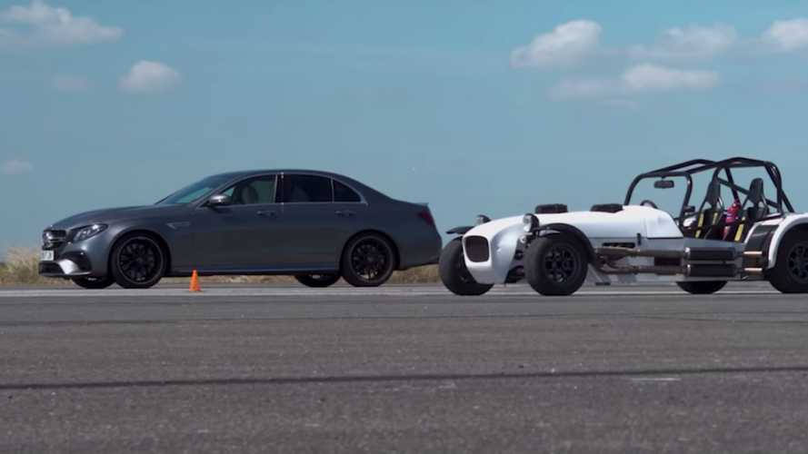 AMG E63 S Drag Races Track Toy With Two Motorcycle Engines