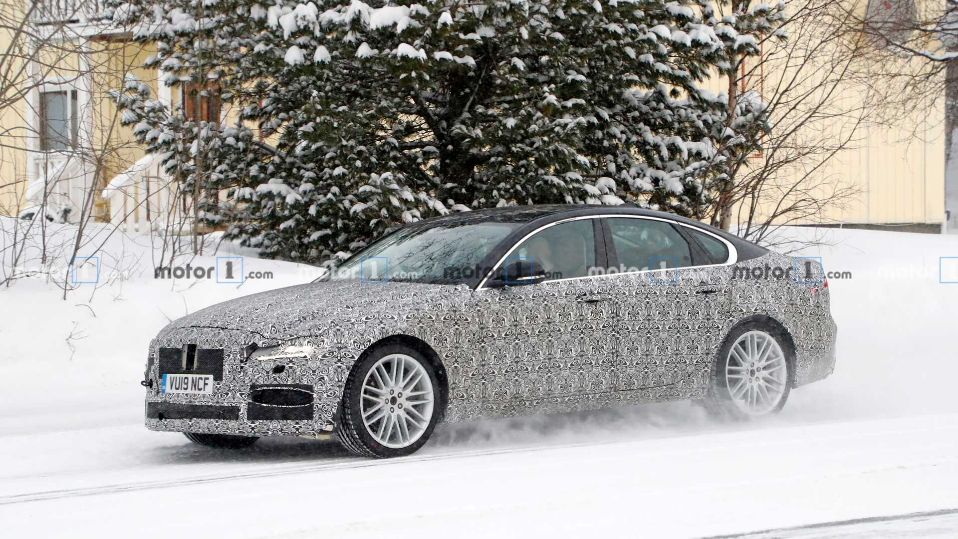 2021 jaguar xf facelift spied up close hiding updated design
