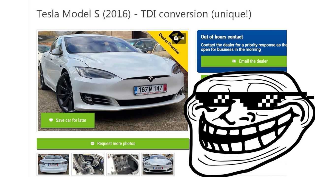 Thank April 1st For This Tesla Model S Not To Become a Diesel Car