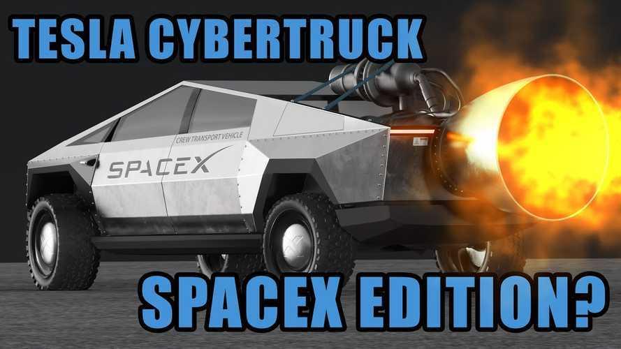 Watch Tesla Cybertruck SpaceX Edition With Massive Rocket Take Flight