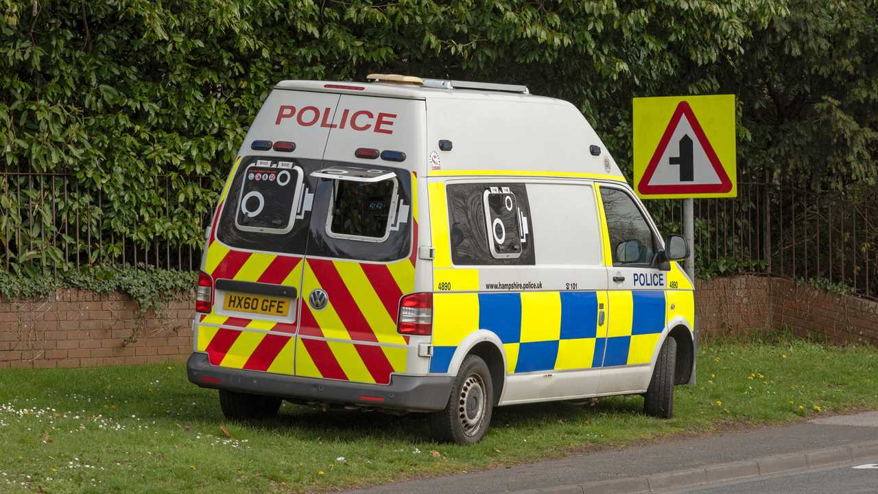 Police speeding camera van in Kings Worthy Hampshire UK