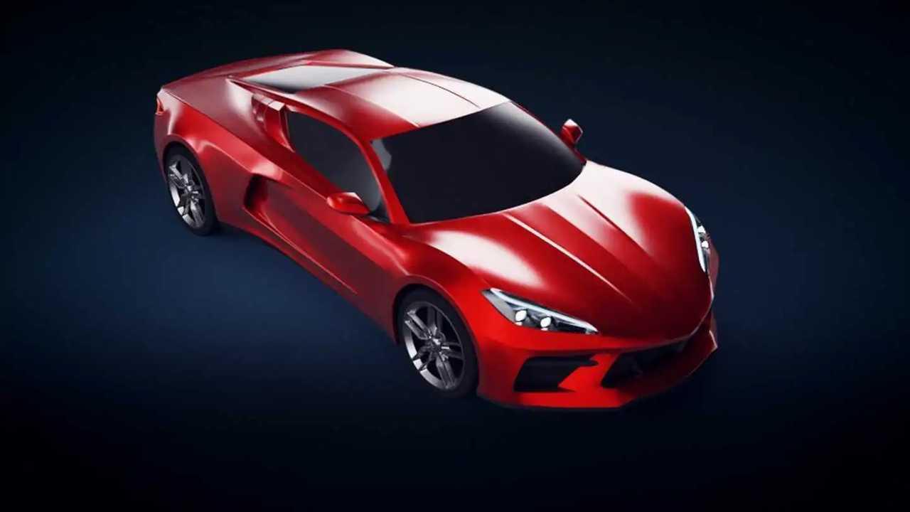 Ortadan motorlu Corvette render'ları