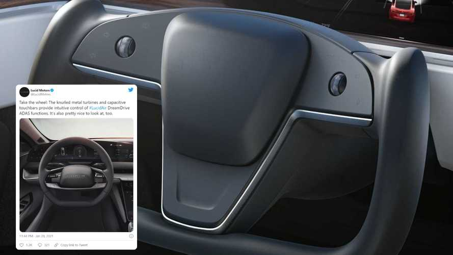 Lucid Pokes Fun At New Tesla Model S Yoke On Twitter: Take The Wheel