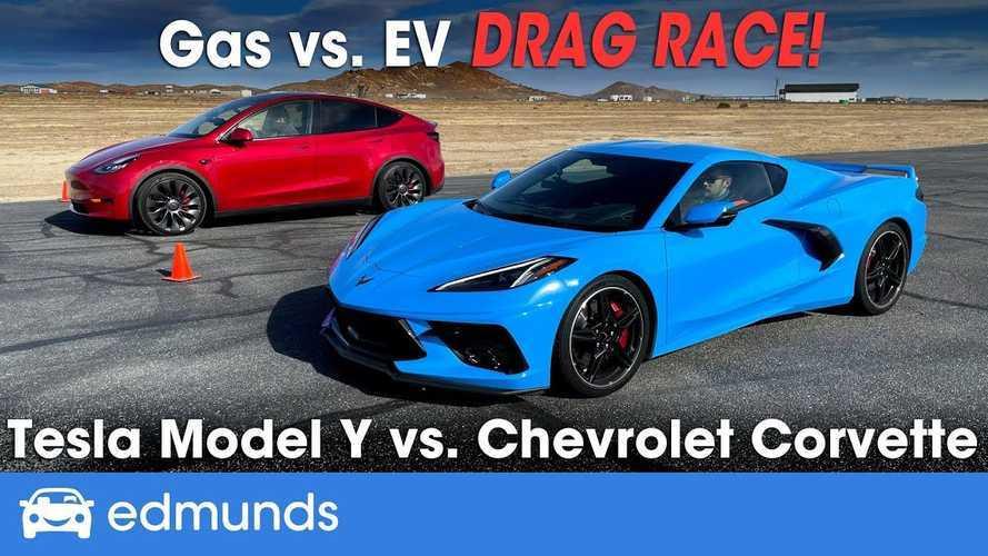 Watch Edmunds Drag Race Tesla Model Y Versus Chevrolet Corvette C8