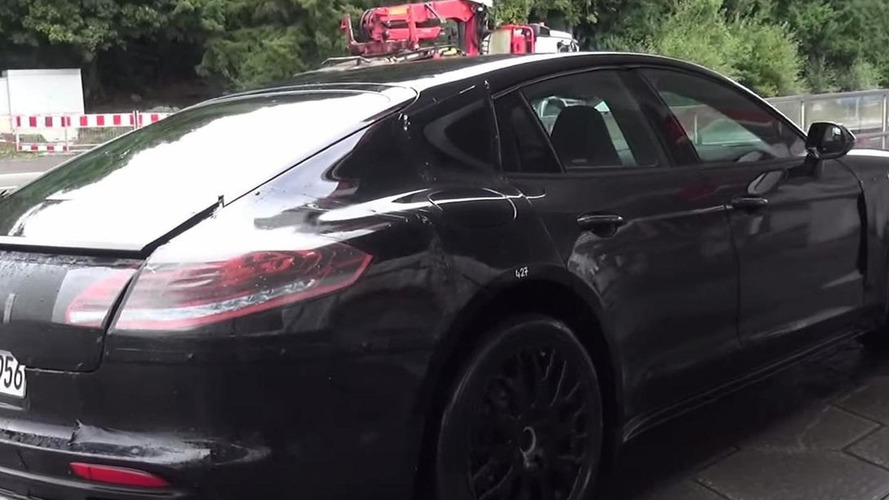 2017 Porsche Panamera spied up close on damp road near the Nurburgring [video]