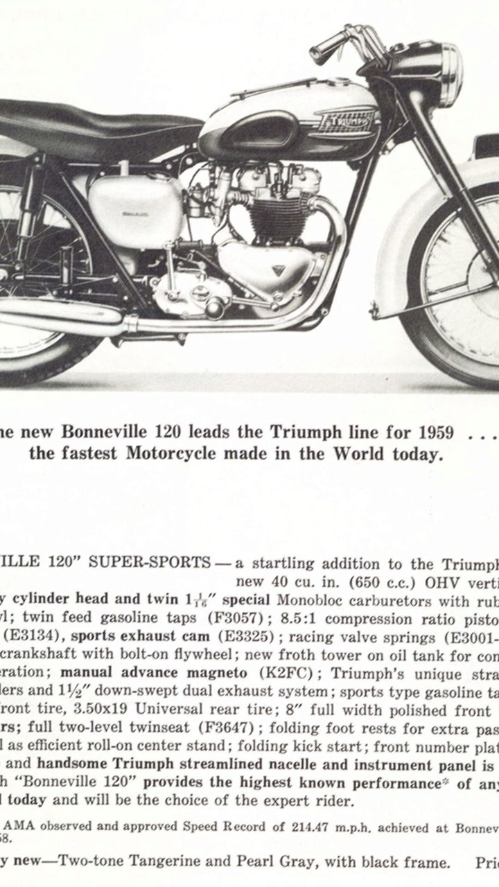 1959 Triumph T120 Bonneville 650 shown in its first sales image from a rare Triumph USA brochure published in October 1958.
